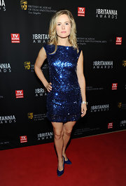 Amelia Jackson-Gray wore a cobalt blue sequin-saturated cocktail dress to the BAFTA Britannia Awards.