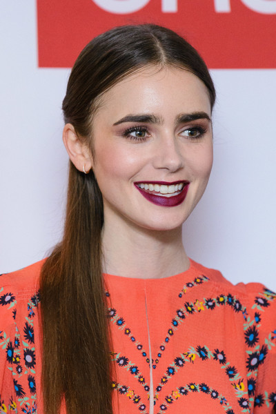More Pics of Lily Collins Print Dress (2 of 18) - Dresses & Skirts Lookbook - StyleBistro [les miserables,hair,hairstyle,lip,orange,eyebrow,beauty,chin,smile,long hair,eyelash,lily collins,photocall,photocall,england,london,bbc one,bafta]