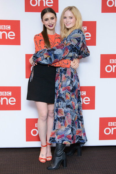 More Pics of Lily Collins Print Dress (6 of 18) - Dresses & Skirts Lookbook - StyleBistro [les miserables,clothing,red,fashion,dress,carpet,premiere,red carpet,fashion design,event,footwear,lily collins,ellie bamber,photocall,photocall,england,london,bbc one,bafta]