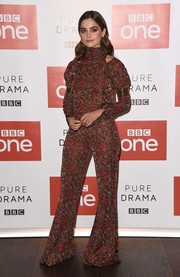 Jenna-Louise Coleman gave off '70s vibes in a printed bell-bottom jumpsuit by Chloe at the photocall for 'The Cry.'