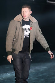 Professor Green's gray bomber jacket and skull-print tee at BBC Radio 1's Teen Awards were a tough-looking combination.