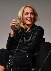 Gillian Anderson stayed warm with a black leather jacket while attending the launch of 'The Fall' series three.