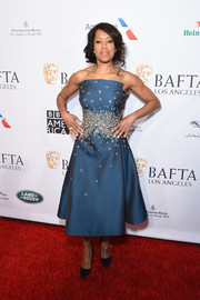 Regina King was prom-glam in a strapless blue cocktail dress by Zac Posen at the BBCA BAFTA Tea Party.