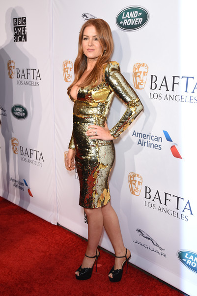 More Pics of Isla Fisher Long Wavy Cut (4 of 9) - Isla Fisher Lookbook - StyleBistro [clothing,dress,shoulder,red carpet,cocktail dress,carpet,hairstyle,fashion,joint,premiere,isla fisher,tea party,los angeles,four seasons hotel,beverly hills,california,bbca bafta,bbca bafta tea party]