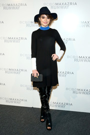Sami Gayle looked very cosmopolitan in a turtleneck sweater dress during the BCBG Max Azria fashion show.
