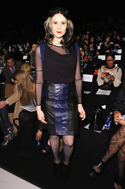 Kate Nash showed her edgy style with a black and blue leather skirt while attending the BCBG Max Azria runway show.