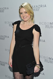 Lorraine was a doll at the BCBG runway show in a unique LBD dress petal cap sleeves.