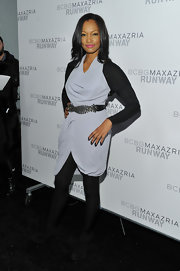 Garcelle topped off her avant-garde ensemble at the BCBG runway show with a rhinestone and leather belt.