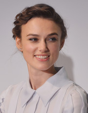 Keira Knightley chose a braided updo for the 'Begin Again' press conference in NYC.