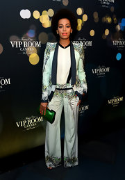 Solange showed off her chic style with this pattered suit.