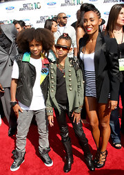 Jaden Smith wore a black leather vest with multicolored lapels to the 2010 BET Awards.