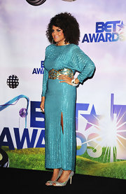 Marsha Ambrosius complemented her beaded dress with an equally glittery pair of peep-toes at the 2011 BET Awards.