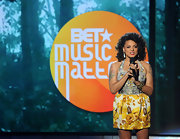 Marsha Ambrosius looked ultra girly in a printed halter dress at the 2011 BET Awards.