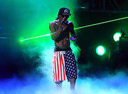 Lil Wayne showed some patriotic flavor with a pair of flag print shorts during his BET performance.