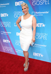 Rebecca Crews sported a crisp white cocktail dress for her light and bright red carpet look.