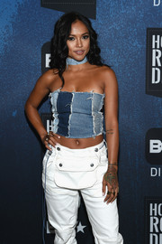 Karrueche Tran's colorful dragon tattoo was on full display as she posed for photographers at the BET How to Rock: Denim event.