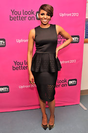 Miss Mykie chose a fitted LBD with a stylish peplum waist and fitted pencil skirt.