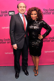 Chaka Khan simply sparkled at the BET Networks New York Upfront event where she sported a long-sleeved, sequined frock.