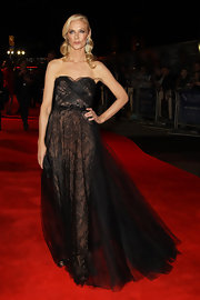 Joely Ricardson looked romantically dramatic in a strapless black tulle and lace gown for the London Film Festival's premiere of 'Anonymous.'