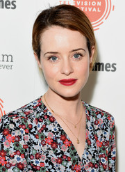 Claire Foy sported a simple side-parted ponytail on day 2 of the BFI and Radio Times TV Festival.