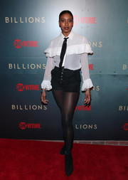 Condola Rashad rocked short shorts on the red carpet at the premiere of 'Billions' season 3.