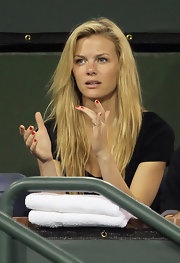Brooklyn Decker wore her nails polished with a classic ruby lacquer while attending the BNP Paribas Open.