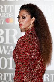 Nicole Scherzinger rocked frizzy hair at the Brit Awards.