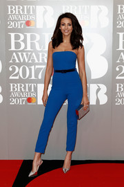 Michelle Keegan styled her outfit with a pair of silver slingbacks.