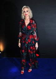 Katy Perry was eye candy in a rose-embroidered duster and matching pants by Adam Selman at the Universal Music party for the Brit Awards.