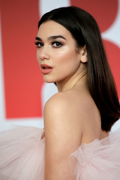 More Pics of Dua Lipa Long Straight Cut (1 of 15) - Dua Lipa Lookbook - StyleBistro [hair,face,skin,eyebrow,hairstyle,lip,shoulder,beauty,chin,long hair,red carpet arrivals,brit awards,relation,the o2 arena,england,london,dua lipa]