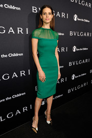 Lyndsy Fonseca wore a great green dress with an interesting sheer collar at the BVLGARI And Save The Children Pre-Oscar Event.