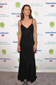 Bridget Moynahan wore a sleek black evening dress for the Baby Buggy 10th Anniversary Gala.