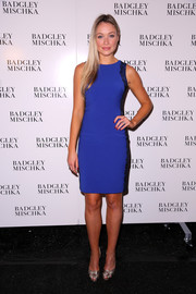 Katrina Bowden showed off her slim figure in a body-con cobalt dress during the Badgley Mischka fashion show.