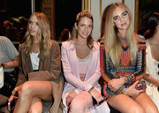Chiara Ferragni worked a multicolored rope mini dress by Balmain during the label's fashion show.