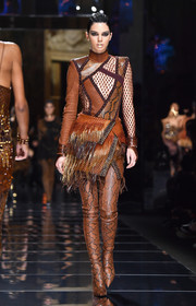 Tall brown snakeskin boots completed Kendall Jenner's perfectly coordinated look.