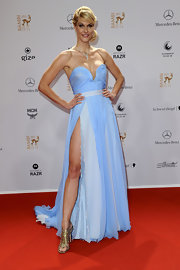 Natashca Gruen wore a strapless pale blue chiffon gown for the Bambi Awards.