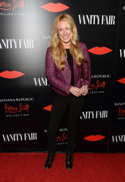 Cat Deeley's purple leather jacket at the Banana Republic L'Wren Scott collection launch was a perfect blend of edgy and cute.