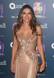 Elizabeth Hurley paired a rose-gold clutch with a strapless blush gown for the charity gala performance of 'The Band.'