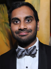 Aziz Ansari showed his quirky style with a gray and black striped bow tie at the Band of Outsiders party.