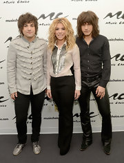Neil Perry chose a military-inspired jacket with front tassels and epaulets for his look at Music Choice.