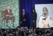 Michelle Obama chose a draped, handkerchief-hem navy dress by Peter Pilotto for the unveiling of her portrait at the National Portrait Gallery.
