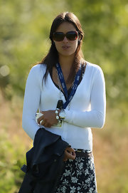 Ana Ivanovic looked demure in her white cardigan and floral skirt at the Barclays Scottish Open.