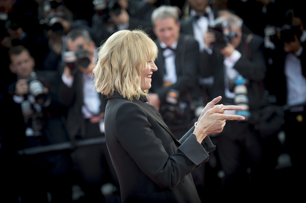 More Pics of Uma Thurman Blazer (1 of 34) - Outerwear Lookbook - StyleBistro [based on a true story,audience,event,performance,crowd,photography,premiere,uma thurman,cannes,france,cannes film festival,screening,palais des festivals]