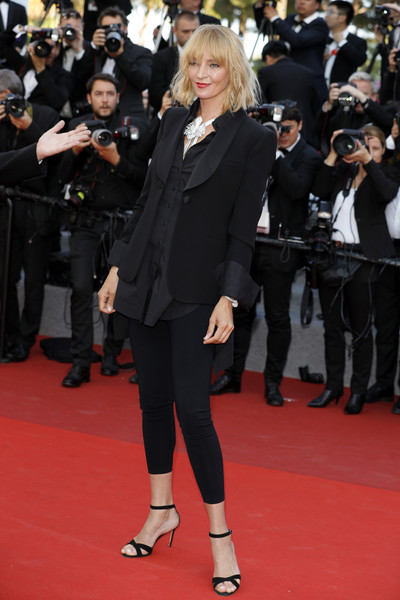 Uma Thurman hit the Cannes Film Festival screening of 'Based on a True Story' sporting a pair of black leggings.