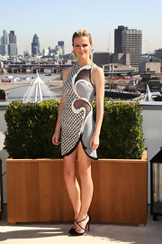 Brooklyn wowed at the 'Battleship' photocall in this mesh embroidered dress.