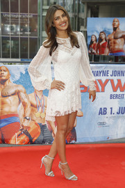 Priyanka Chopra looked angelic in a little white lace dress by Marc Jacobs at the 'Baywatch' photocall in Berlin.
