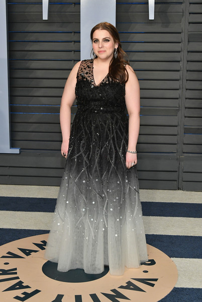 Beanie Feldstein Sequin Dress [oscar party,vanity fair,dress,clothing,gown,fashion model,fashion,shoulder,haute couture,formal wear,lady,bridal party dress,beverly hills,california,wallis annenberg center for the performing arts,radhika jones - arrivals,radhika jones,beanie feldstein]