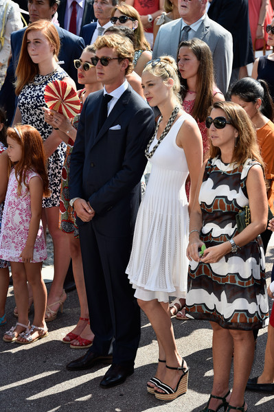 Beatrice Borromeo Wedges [prince albert of monaco celebrates 10 years on the throne,first day,event,dress,fashion,lady,crowd,fun,ceremony,formal wear,fashion design,street fashion,pierre casiraghi,charlotte casiraghi,beatrice borromeo,l-r,monaco,throne celebrations,10th anniversary]