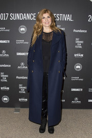 Connie Britton arrived for the Sundance premiere of 'Beatriz at Dinner' wearing an ankle-length navy coat with gold buttons.