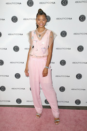 Storm Reid kept it cute and youthful in an embellished pink tulle top by Emporio Armani at the Beautycon Festival LA 2018.